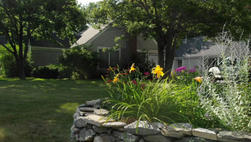 Retirement cottage in summer with beautiful garden