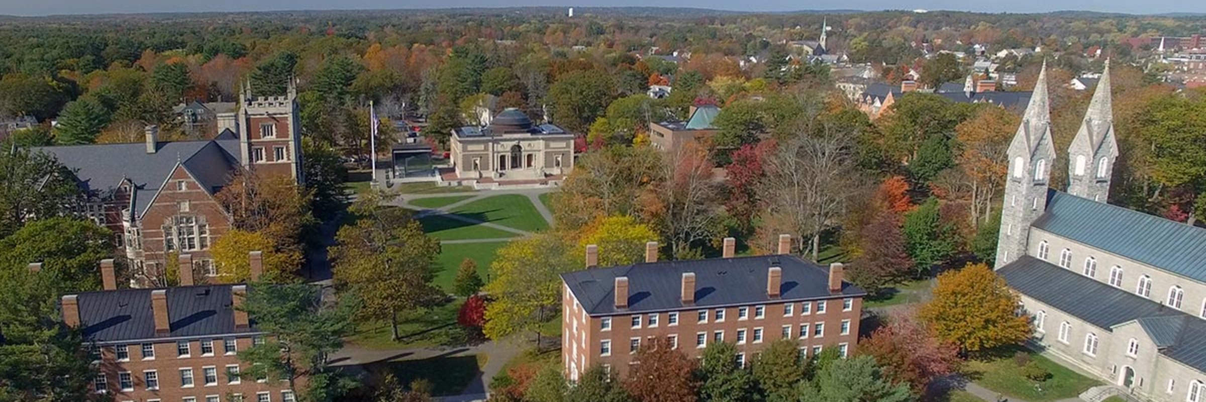 Historic buildings on the Bowdoin College campus in Brunswick, Maine