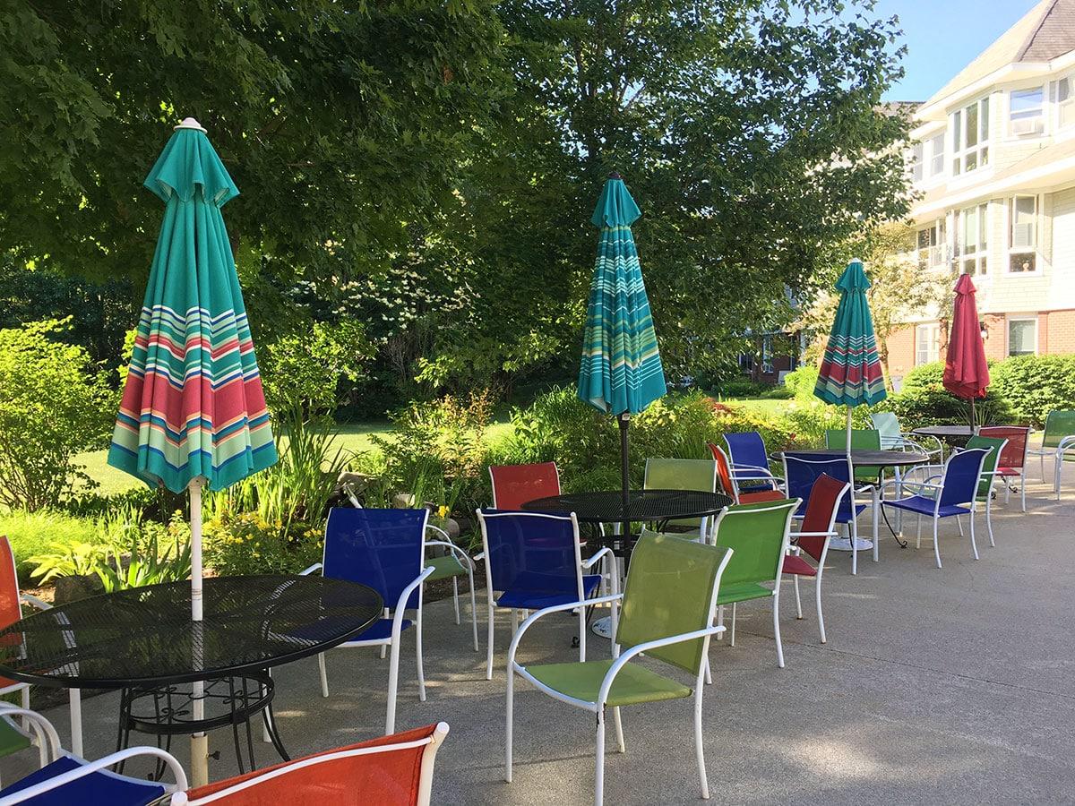 Thornton Oaks patio in summer