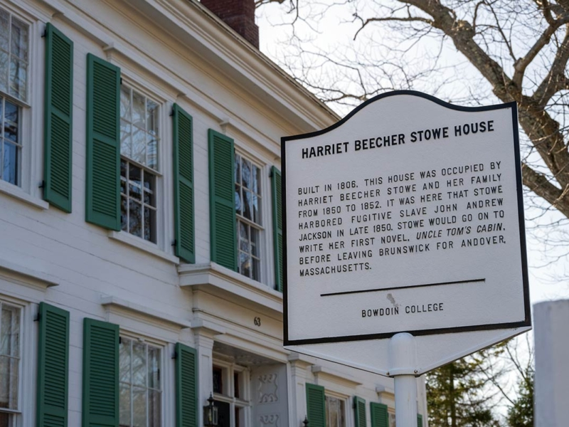 The Harriet Beecher Stowe House in Brunswick Maine is where she wrote Uncle Tom's Cabin