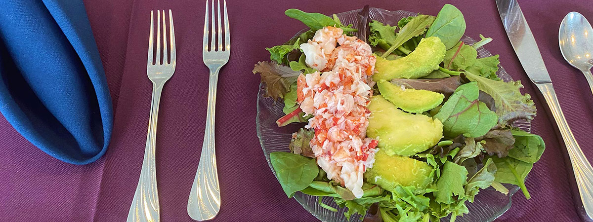 Lobster avocado salad - the best retirement dining