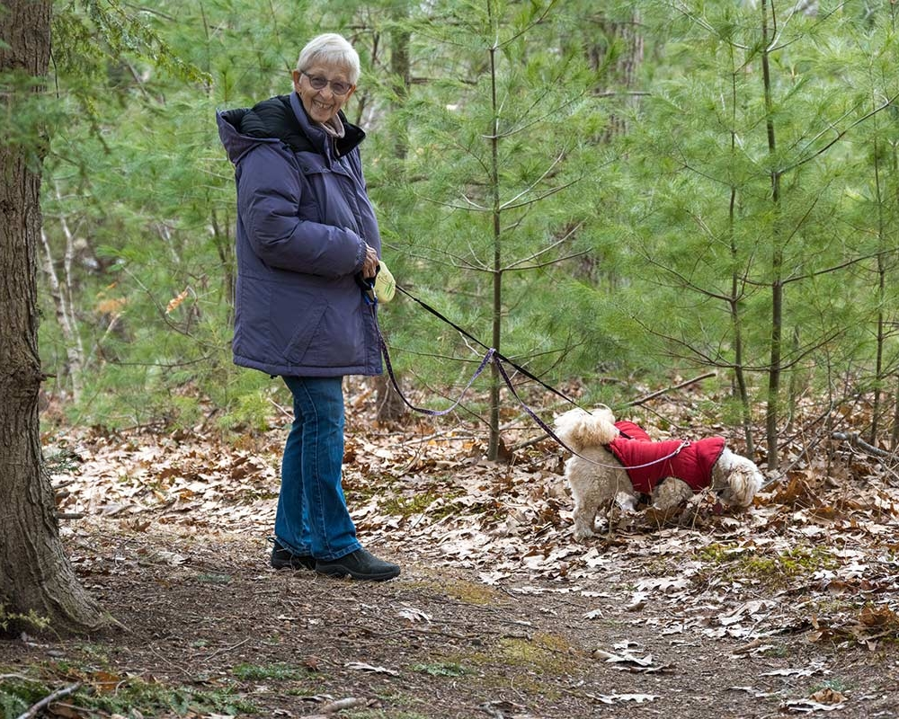 Dog friendly retirement - a resident walks her dogs on the trails abutting Thornton Oaks