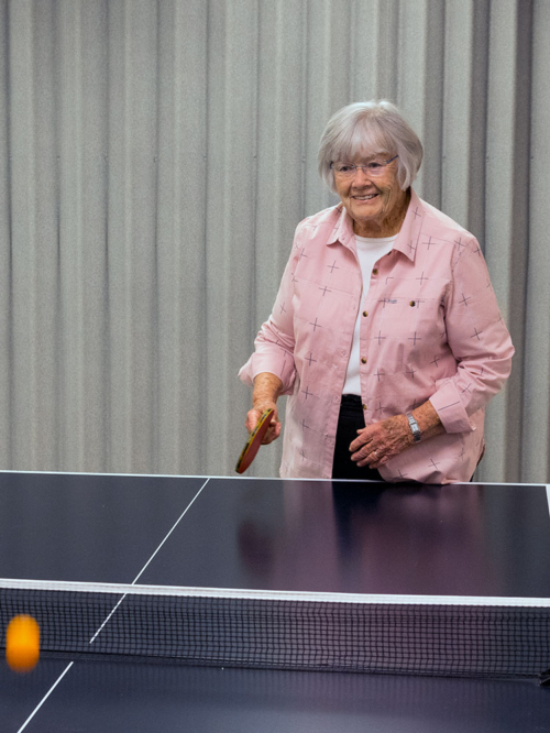 Marie loves to play ping pong