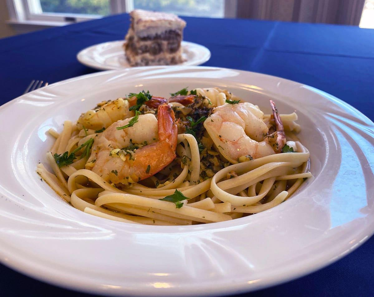 Shrimp Scampi and Tiramisu